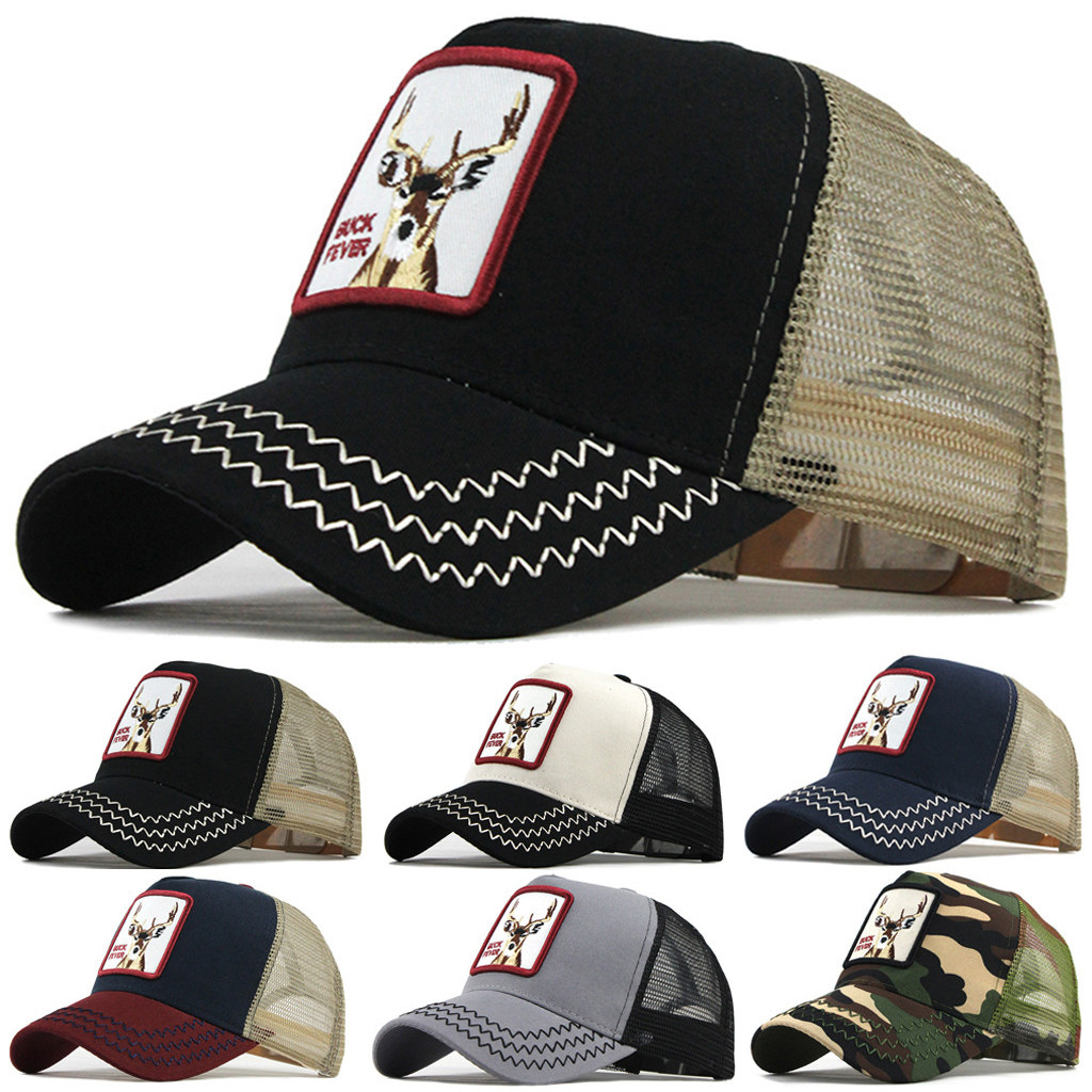 Vintage Cock Baseball Cap Fawn Animal Embroidered Hip Hop Hats Unisex Adjustable Outdoor Summer Breathable Mesh Net Caps YL5
