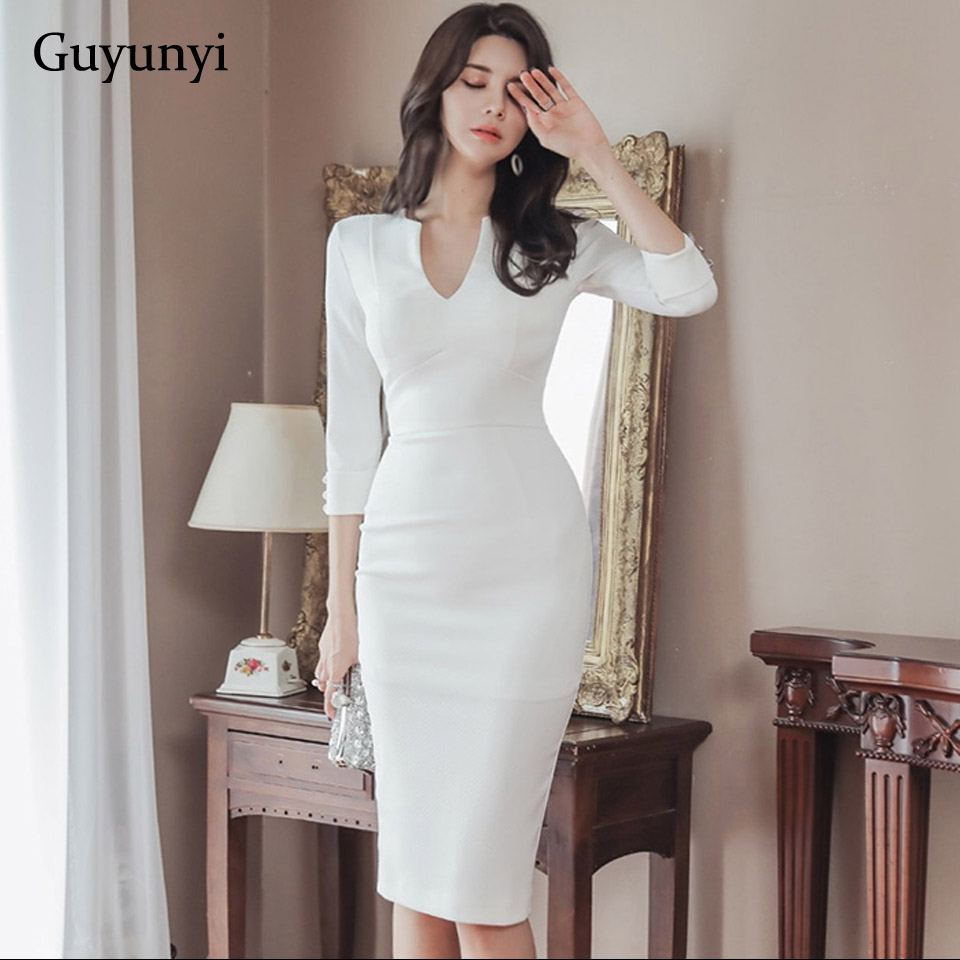 Business Office Dress 2020 Spring White Comfortable High Waist Slim Pencil Dress V-Neck Five-Sleeve Elegant Women's Party Dress