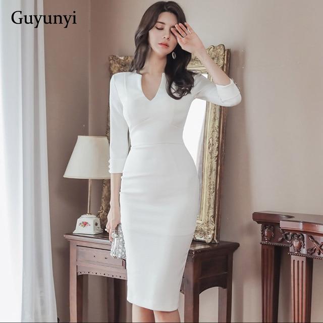 Business Office Dress 2020 Spring White Comfortable High Waist Slim Pencil Dress V-Neck Five-Sleeve Elegant Women's Party Dress