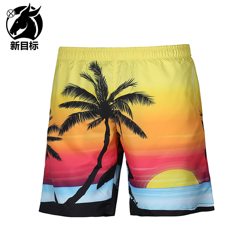 AliExpress 2019 Spring And Summer New Style Popular Brand Swimwear Pants Palm Style 3D Printed Beach Shorts Casual MEN'S Middle
