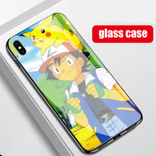 Tpu + vidrio templado, Pokemon, juego de funda para iPhone x XR XS 11 PRO MAX 7 6 6S 8 plus Pokemon Anime cubre(China)