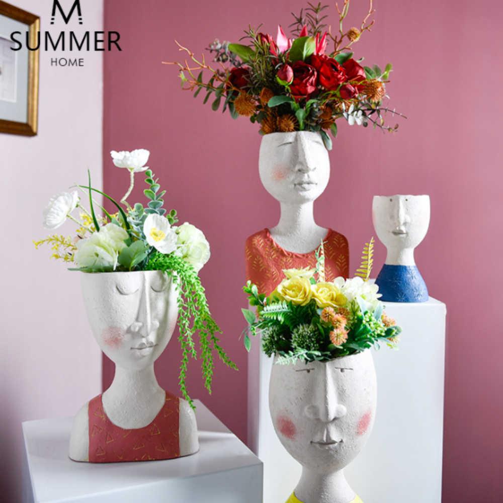 아트 초상화 꽃 냄비 꽃병 조각 수지 인간의 얼굴 가족 꽃 냄비 수제 정원 스토리지 꽃꽂이 홈 Decors