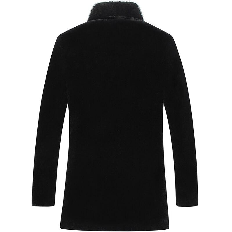 Men's Jacket Natural Fur Coat Men Long Sheep Shearling Mink Fur Collar Wool Coat Plus Size Leather Jacket LSY070087KJ805