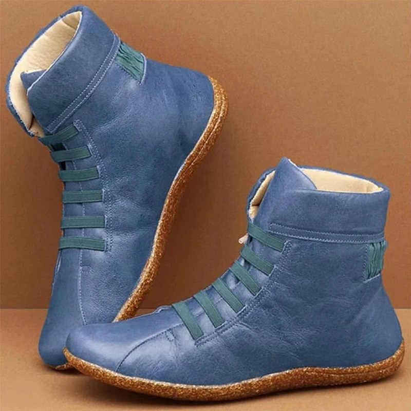 Yarım çizmeler kadın PU deri kadın sonbahar Vintage kadın Punk kısa çizmeler düz bayan ayakkabıları kadın Botas Mujer artı boyutu