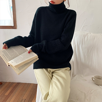 Ailegogo Winter Women Turtleneck Sweater Casual Female Knitted Long Sleeve Loose Pullovers Solid Color Ladies Korean Style Tops 4