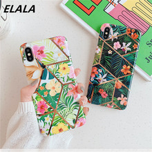 ELALA Glossy Plating Geometric Phone Case For iPhone 11 Pro XS Max X XR 6s 7 8 Plus Cover Flowers Leafs Patterned Soft IMD Cases