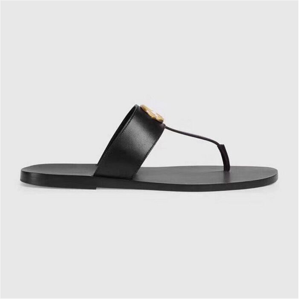 Leather Black White Slippers For Men And Women Soft Cowhide Outdoor Beach Lazy Slippers Designer Luxury Brand Slippers Size35-46