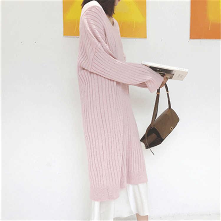 Colorfaith nouveau 2019 automne hiver femmes mi-mollet tricot robes droites v-cou Style coréen élégant solide décontracté DR7784