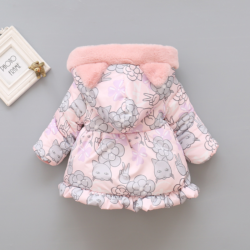 2019 Kids Baby Girls Jackets Baby Clothing Kids Hooded Coats Winter Toddler Warm Cartoon Printed Jacket Baby Outerwear 2-5Y 3