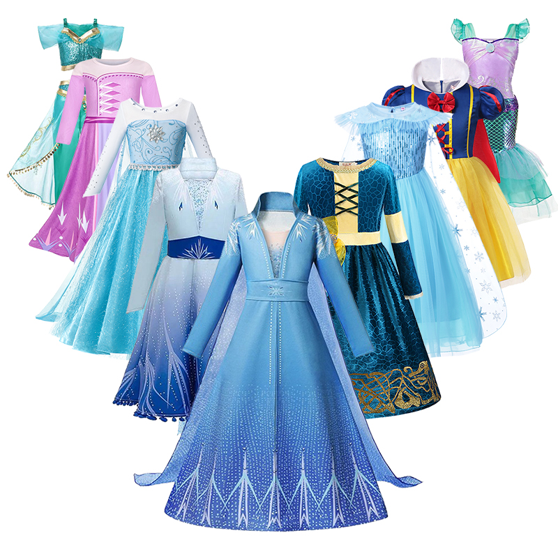 Elsa Dress For Girls Mermaid Princess Dresses Cosplay Costume Kids Anna 2 Snow White
