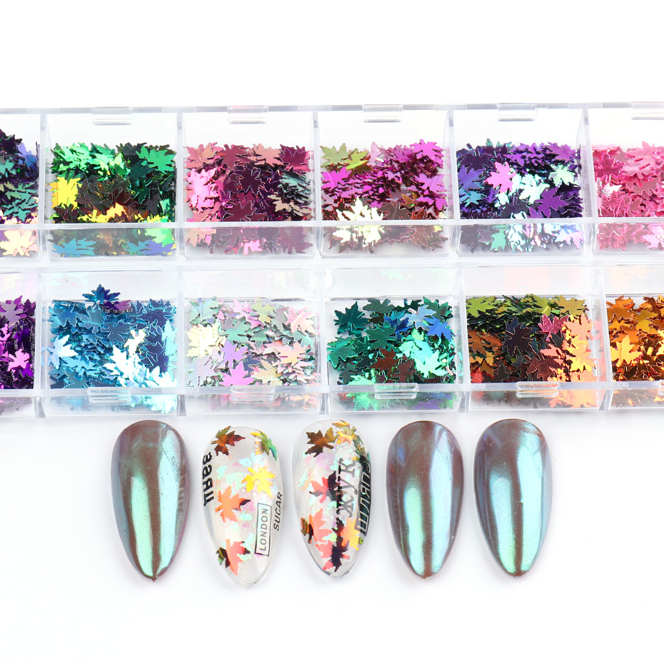 Fall Nails Glitter Flakes Sequins Maple Leaf Dazzling Mirror Sheet Sticker for Manicure Nail Decor Paillette (6)