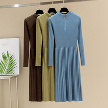 GIGOGOU Zipper OL Turtleneck Pullover Sweater Women Dress Fa