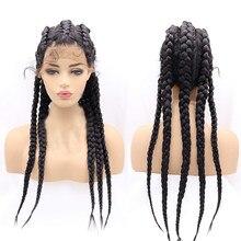 Perruque Lace Front Wig synthétique tressée à la main, 1B #, noire, longue, 5 tresses, avec Baby Hair, pour femmes