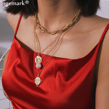 Ingemark Egyptian Rune Coin Faith Choker Necklace Statement Vintage Multi Layer Pearl Pendant Long Chain Necklaces Women Jewelry