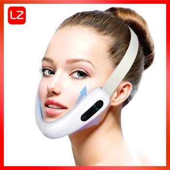 Masajeador facial de radiofrecuencia microcorriente V que da forma a la cara, terapia de compresión en caliente Línea V Mascarilla adelgazante facial en forma de V Doble mentón Levantamiento firme