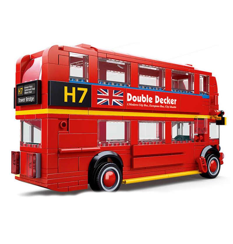 Sluban kompatybilny legoed city pojazd samochód wyścigowy bloki zestawy wyścigowe modele modele budowlane zabawki dla dzieci dziecko cegła piętrowy autobus