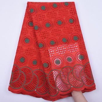 Red pure Cotton Lace Fabric 2020 High Quality Soft Lace with Stones Embroidery Swiss Voile Lace Fabric For Nigerian Every Dress