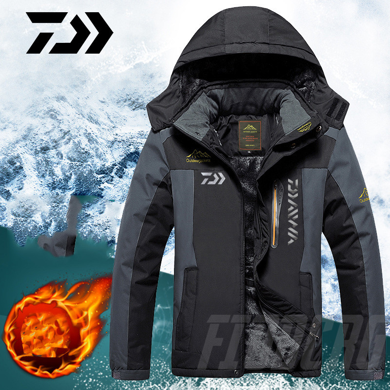 DAIWA Fishing Clothing Winter Autumn Winter Waterproof Warm Fishing Jackets Men Fleece Thick Outdoor Fishing Shirts M-8XL