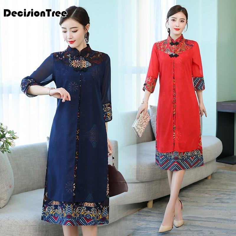 2019 cheongsam ao dai vietnam ao dai qipao asian dress cotton linen robe oriental floral print folk style Vintage Casual Retro 3