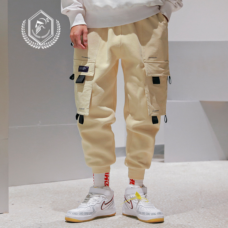 Men Loose Safari Style Harem Jogger Pants Fashion Pockets Fleece Heavyweight Ankle-Length Hip Hop Pants