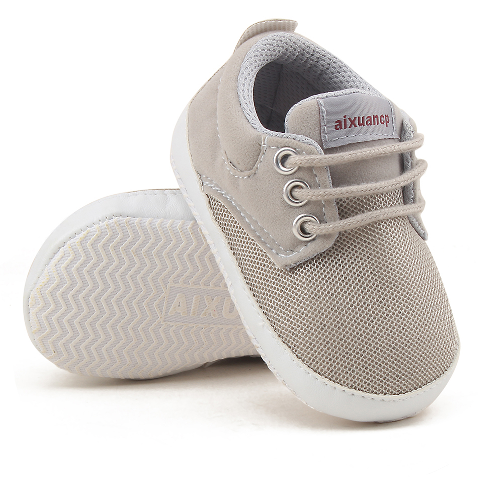 Spring Autumn Baby Boy Shoes First Walkers Grey Soft Sole Shoes Infant Canvas Crib Newborn Simple Color Shoes 0-18 Months