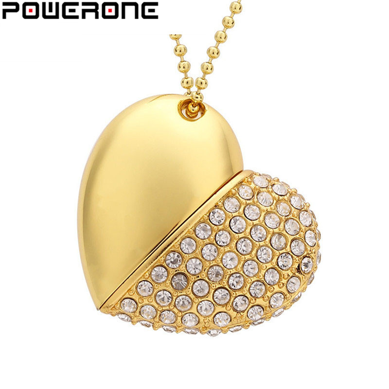 POWERONE Crystal Diamond Heart With Chain Pendant USB Flash Drive Pendrive 64GB 16gb 32GB USB 2.0 Necklace Memory Stick Gifts