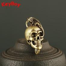 Vintage latón lagartija cráneo cabeza coche llavero anillo colgante Punk hombres Metal cobre llavero Fob Clip DIY dije con llavero Accesorios