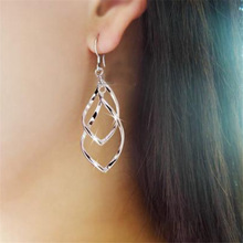 Twisted Diamond Multi-layer Earrings Double Ring Ladies Ol Classic Fashion Super Shiny Alloy Wholesale