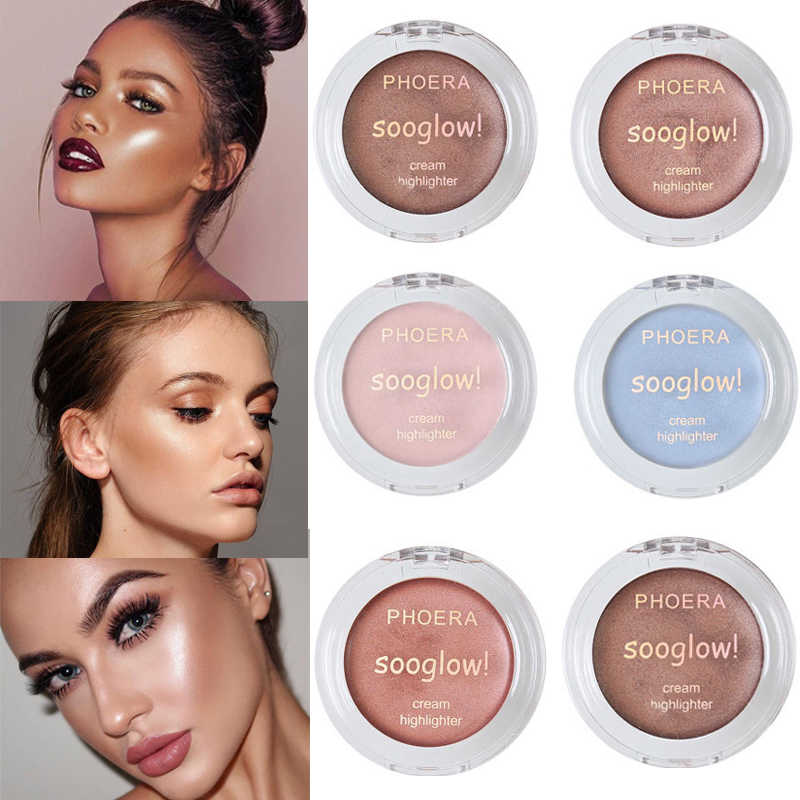 PHOERA Sexy Shimmer Creme Highlighter 8 Farben Make-Up Pulver Palette Beleuchtung Gesicht Highlight Creme Contouring Bronzer TSLM2