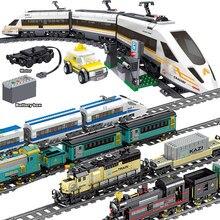Trem da cidade série técnica com a função de energia da bateria do motor trilho trilha ferroviária blocos de construção tijolos brinquedo para as crianças presente