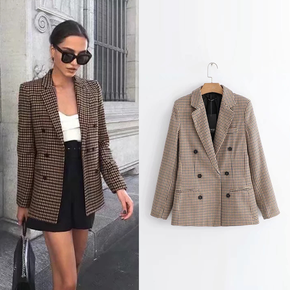 Long Sleeve Turn-down Collar Coat Women Clothing Plaid Blazers Female 2019 Lady Business Jacket Suit Coat Slim Top Outerwear
