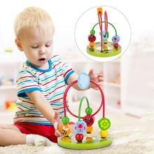 Детские игрушки Монтессори деревянные горки лабиринт из бисера