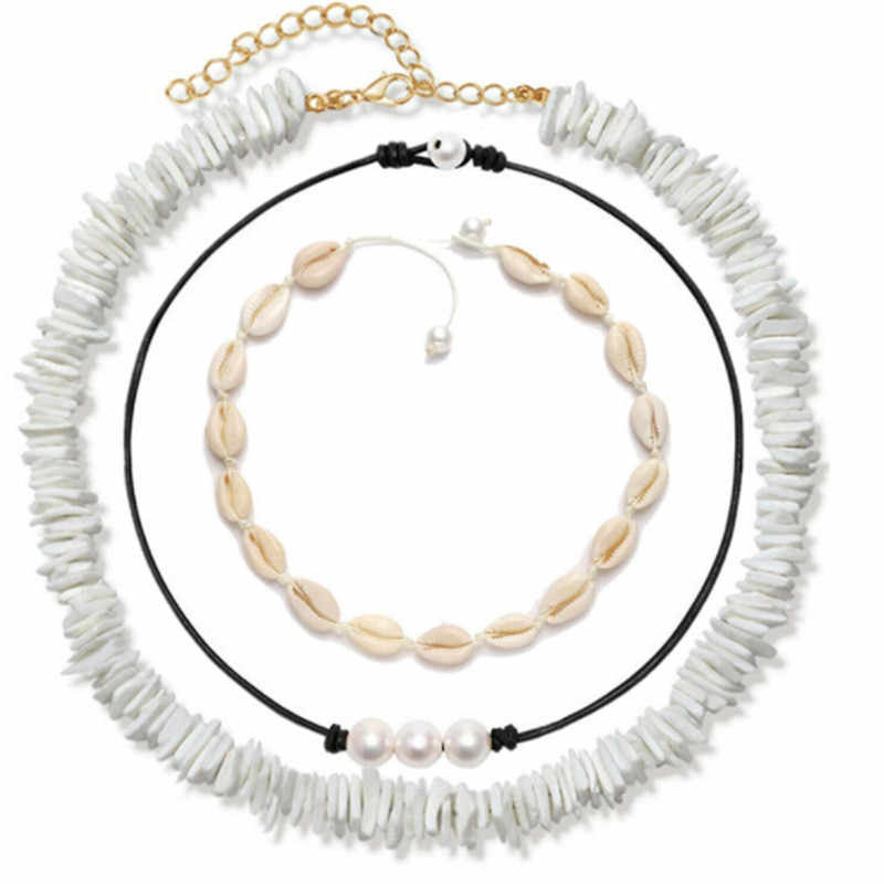 Baru Gaya Laut Warna Putih Chic Retro Mutiara Air Tawar Alami Shell Potongan Kalung Anak Perhiasan Femme Set