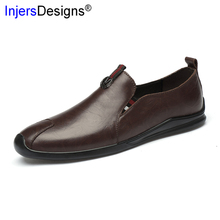 Fashion Business Shoes Men Slip-On Loafers Soft Comfortable Driving Shoes High Quality Genuine Leather Casual Men Shoes Big Size cheap INJERSDESIGNS Cow Leather Rubber 6834 men casual leather shoes Fits true to size take your normal size Solid Adult Breathable