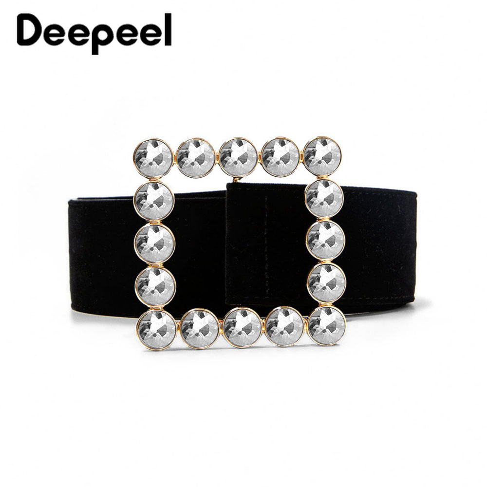 Deepeel 1pc 5.2*100cm Women Square Buckle Velvet Cummerbunds Diamond Decoration High Quality Female Luxury Elegant Girdle CB610