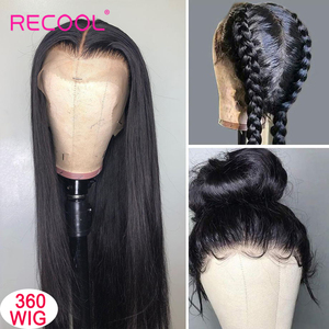 Image 4 - Recool 4X4 Lace Closure Wig Straight Lace Front Human Hair Wigs 200 Density 360 Full Lace Wig 28 30 Inch 13x6 Lace Wig Glueless