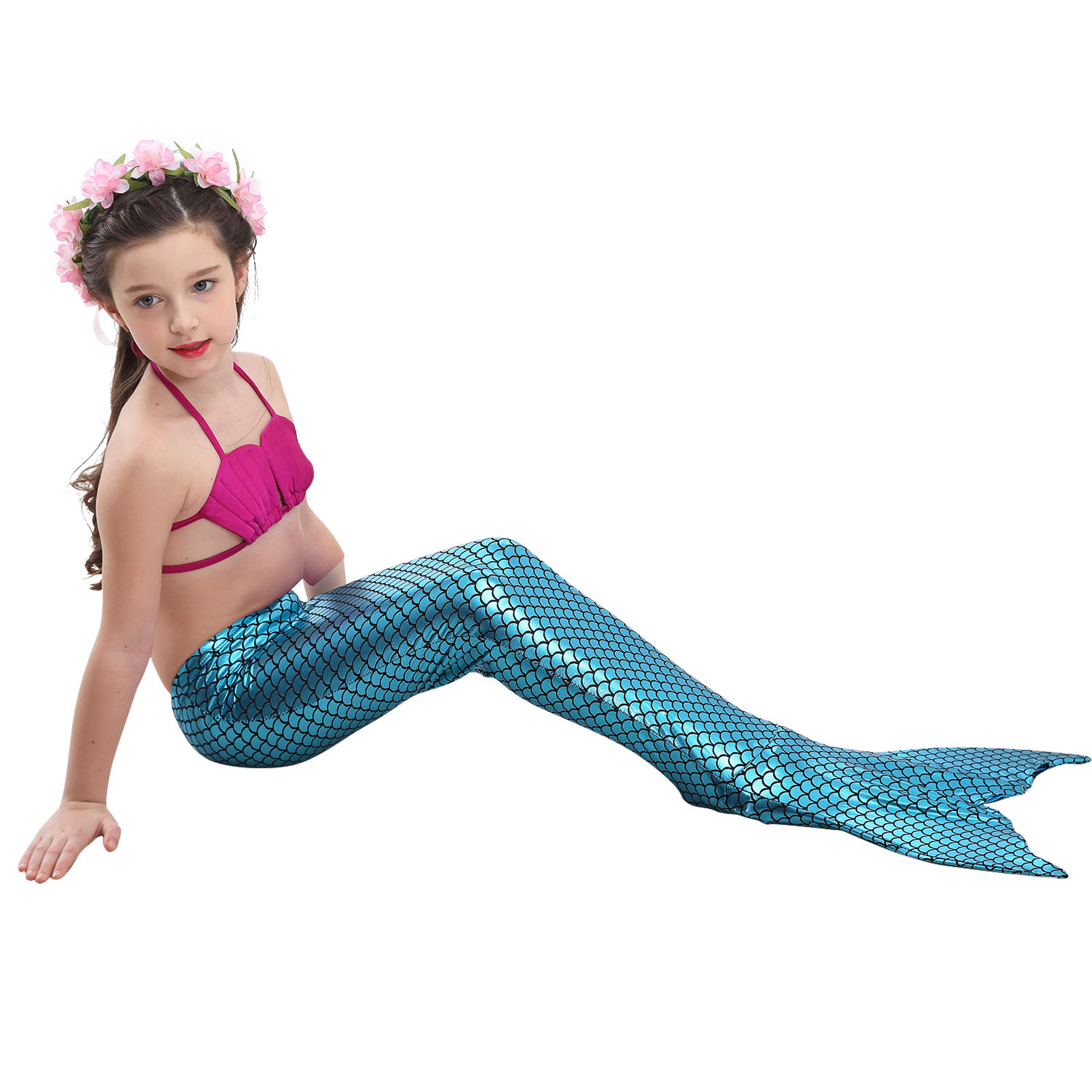 Little Mermaid Tails for Swimming Costume Mermaid Tail Cosplay Girls Swimsuit Kids Children Swimmable suit Monofin 4