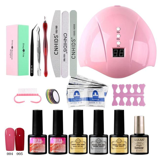 Nail Set UV LED Lamp Dryer With 14/18pcs Nail Gel Polish Kit Soak Off Manicure Tools Set electric Nail drill For Nail Tools 1