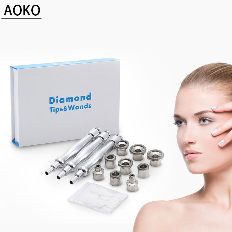 AOKO Diamond Microdermabrasion Skin Peeling Beauty Machine Facial Skin Care Tool Replacement Accessories 9 Tips 3 Wands Sets