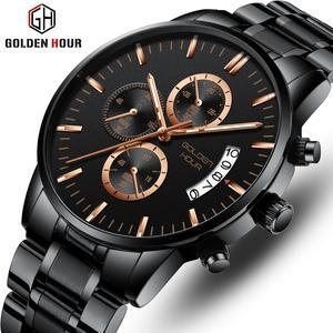 Часы GOLDENHOUR Мужские кварцевые, брендовые Роскошные модные спортивные водонепроницаемые наручные, в деловом стиле