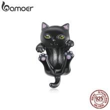 Bamoer véritable Original femmes Bracelet en argent 925 Sterling dessin animé chat noir breloque en métal pour bijoux à bricoler soi-même faisant des perles BSC404