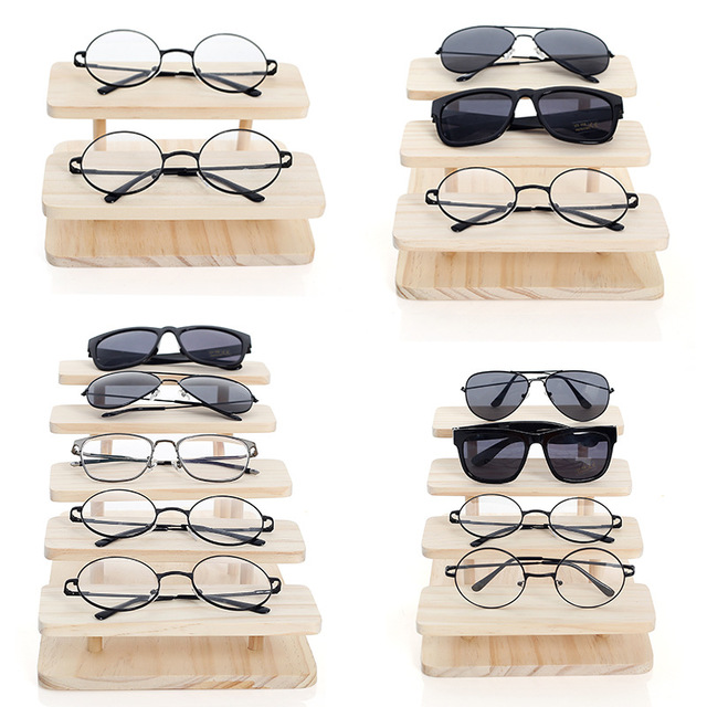 Rasalhaguer Assembleable Bamboo Sunglasses Stand Glasses Display Jewelry Holder Bracelet Watches Show Product 1-5Layers Options