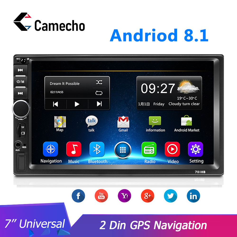 Camecho <font><b>2</b></font> <font><b>din</b></font> Android 8.1 Car <font><b>radio</b></font> GPS Multimedia Video Player Universal Autoradio For Volkswagen Nissan Hyundai Kia toyota image