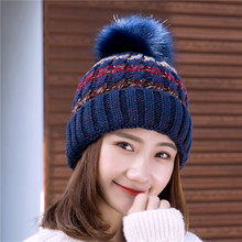 Fashion Stitching Color Warm Winter Hat For Women Knitted Pom Pom Hat Women'S Cotton Beanies Hat недорого