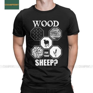 Men's T-Shirt Wood For Your Sheep Board Game Settlers Of Catan Humor Cotton Tee Shirt Short Sleeve Wheat Gamer T Shirt Gift Idea(China)