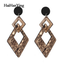 New ZA Vintage Acrylic geometric Earrings For Women Bohemian Earrings Set Big Dangle Drop Earring 2020 Female Fashion Jewelry hocole new fashion acrylic round drop earrings for women fashion jewelry leopard print resin geometric hanging dangle earring za