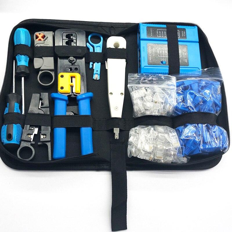 11 шт. Набор плоскогубцев для обжимных инструментов с кристаллической головкой кабельный тестер RJ45 RG-58/59/62/3C/4C инструмент для ремонта сети