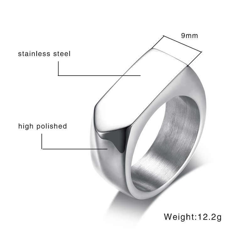 แบน-Top' แหวนผู้ชายสแตนเลสชายอัญมณี West Band เครื่องประดับสไตล์สีดำ Gold Tone