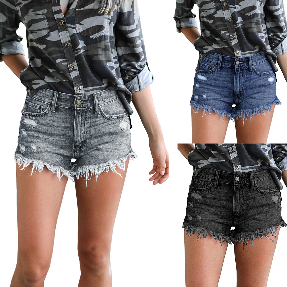 Women Sexy Ripped Denim Shorts Summer Sexy Fringe Shorts Hight Waisted Cool Hot Pants Fashion Skinny Slim Short Jeans D30