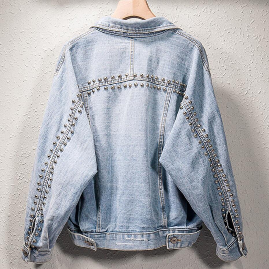 2019 autumn fashion women's beaded hole denim jacket 5XL